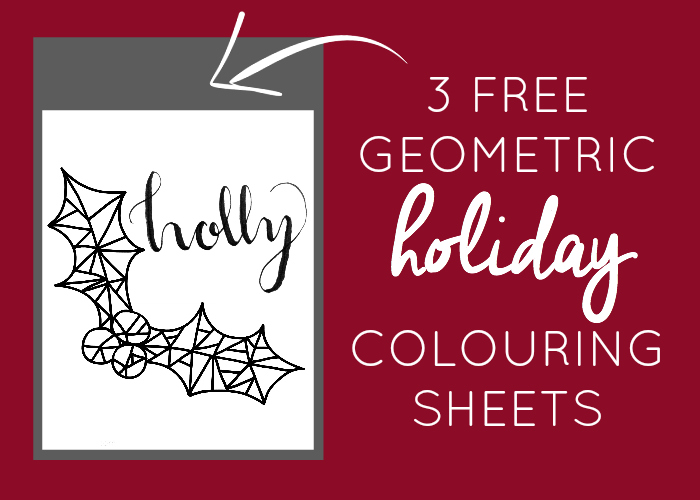 3 Free Geometric Holiday Colouring Sheets