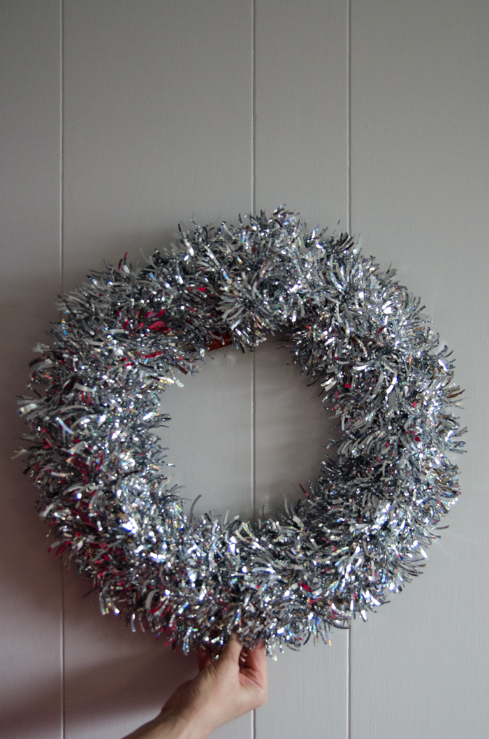 DIY Rustic Pinecone & Bauble Holiday Wreath for only a few dollars!