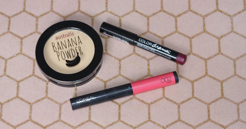 Australis Banana Powder, Maybelline Color Drama pencil Berry Much, L'Oreal Infallible Matte FX powder lipstick Virgin