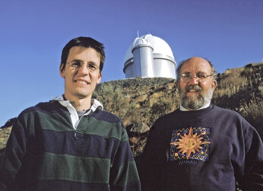 World-renowned Swiss astronomers Didier Queloz and Michel Mayor of the Geneva Observatory are seen here in front of ESO's 3.6-metre telescope at La Silla Observatory in Chile.
