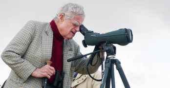 Luc Hoffman, one of the founders of the WWF and the Coto Doñana National Park, looking through binoculars on the occasion of the World Wetlands Day, in Coto Doñana National Park, Andalusia, Andalusia, Spain.  The National Park is celebrating the 40th anniversary of its creation in 2009.