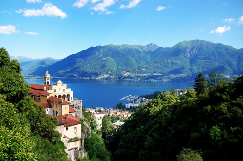 Shrine of Our Lady of the rock located in Orselina above the city of Locarno © William Giannelli | Dreamstime.com