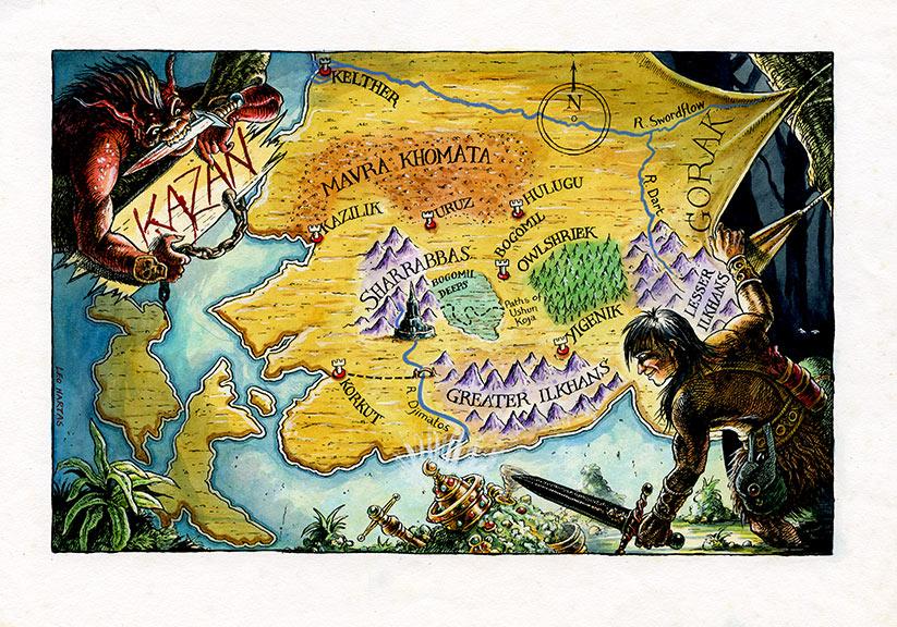 Map of Kazan - Fighting Fantasy - Leo hartas