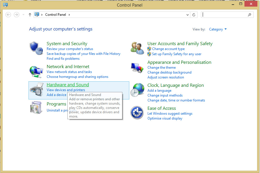 Windows 8 settings control panel.