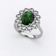 bague-entourage-marguerite-or-blanc-diamants-emeraude-0