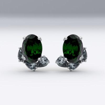 boucles-d-oreilles-or blanc-sienna-joaillerie-diamant-poire-emeraude-ovale