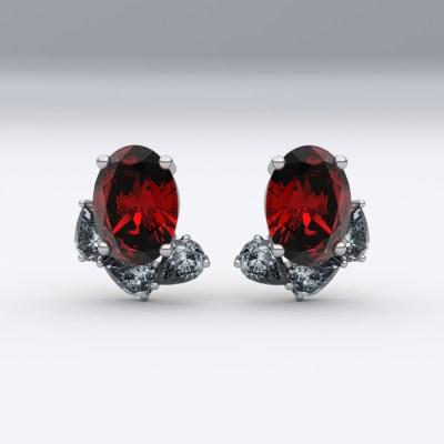 boucles-d-oreilles-or blanc-sienna-joaillerie-diamant-poire-rubis-ovale