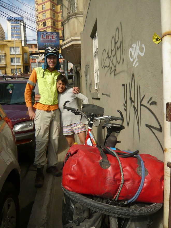 David (Australie) et Mishiko (Vénézuela) à la casa de ciclistas
