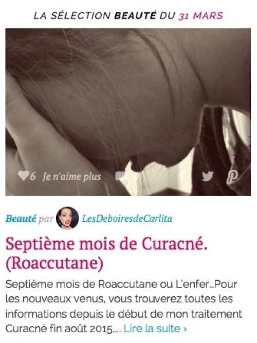 on parle du blog selection beaute 31-03 hellocoton les deboires de carlita roaccutane septième mois