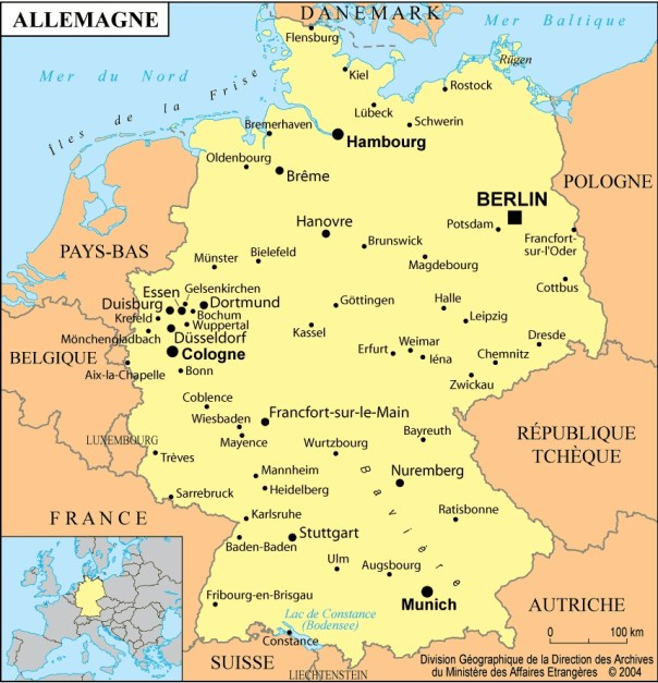 Allemagne-carte-d-Allemagne-Berlin-Munich-Hambourg-Cologne-Mer-du-Nord-Mer-Baltique-Europe-Centrale