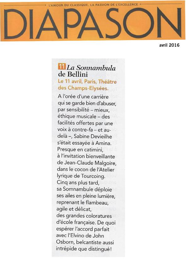 Annonce de la version de concert de La sonnambula, le 11 avril 2016 au Théâtre des Champs-Elysées, dans le numéro de Diapason d'avril 2016.
