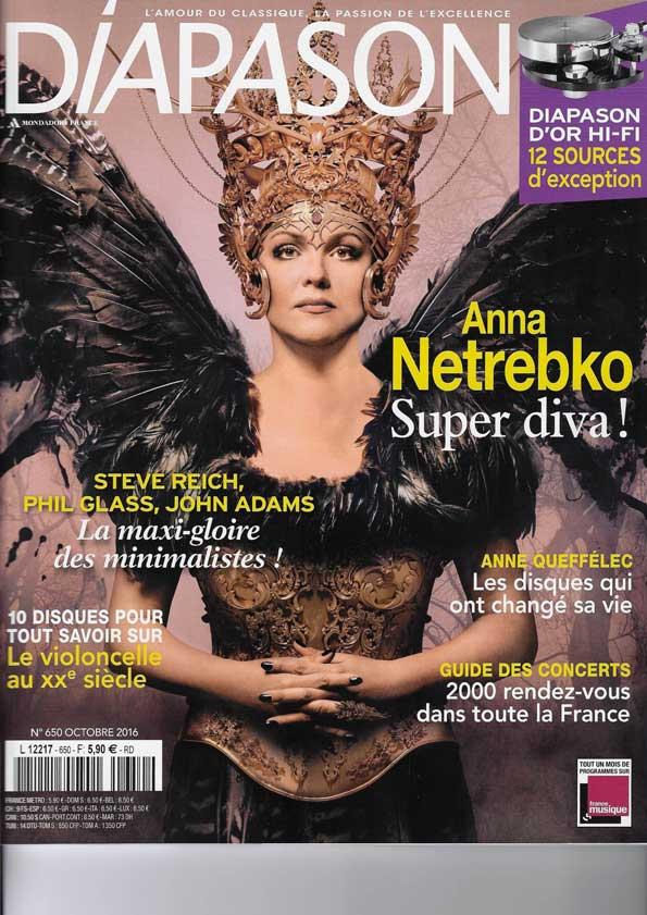 Anna Netrebko en couverture du magazine Diapason d'octobre 2016 !