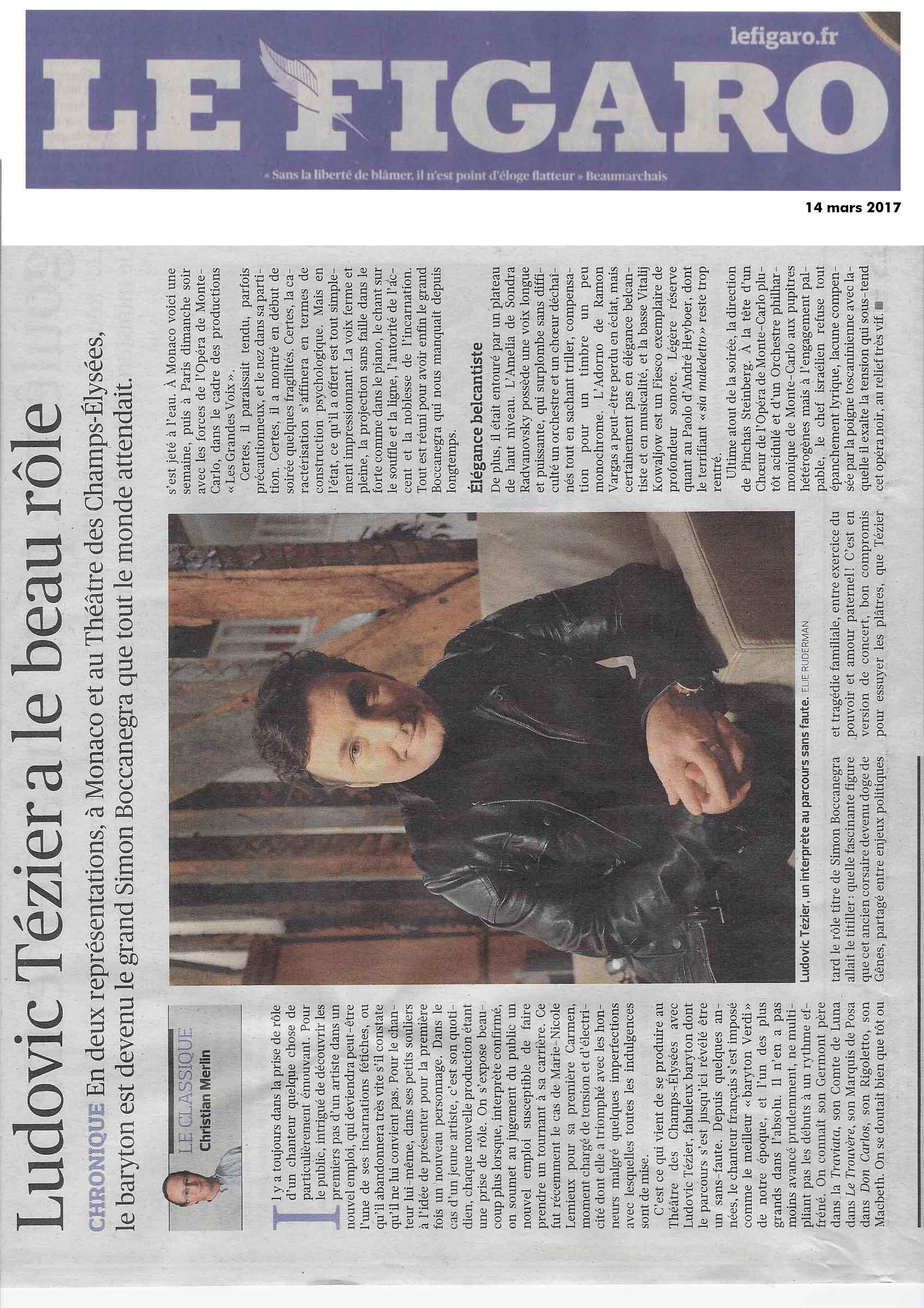 Compte-rendu de Simon Boccanegra dans le Figaro du 14 mars 2017