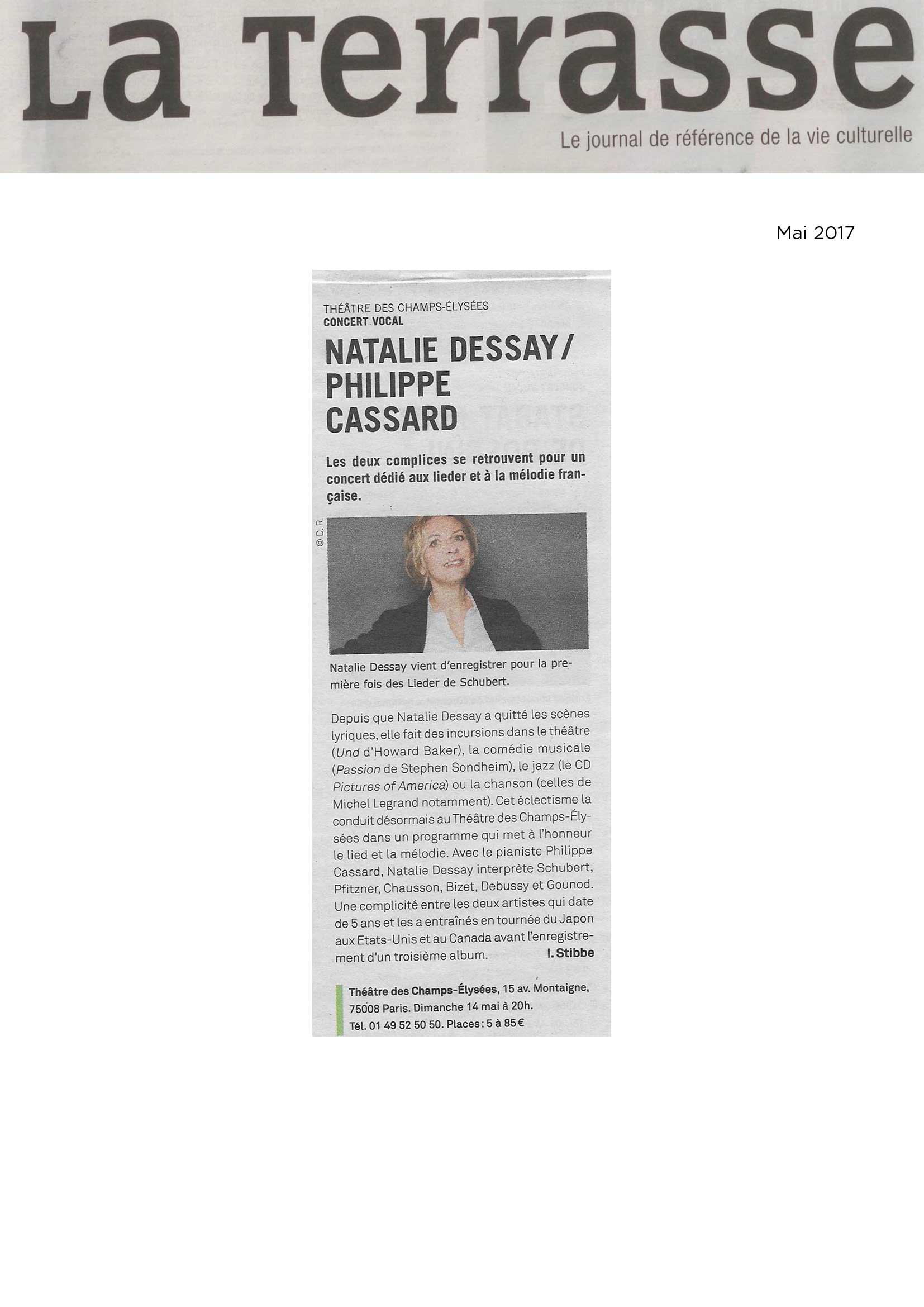 Annonce du récital de Natalie Dessay et Philippe Cassard dans le numéro de mai 2017 de La Terrasse
