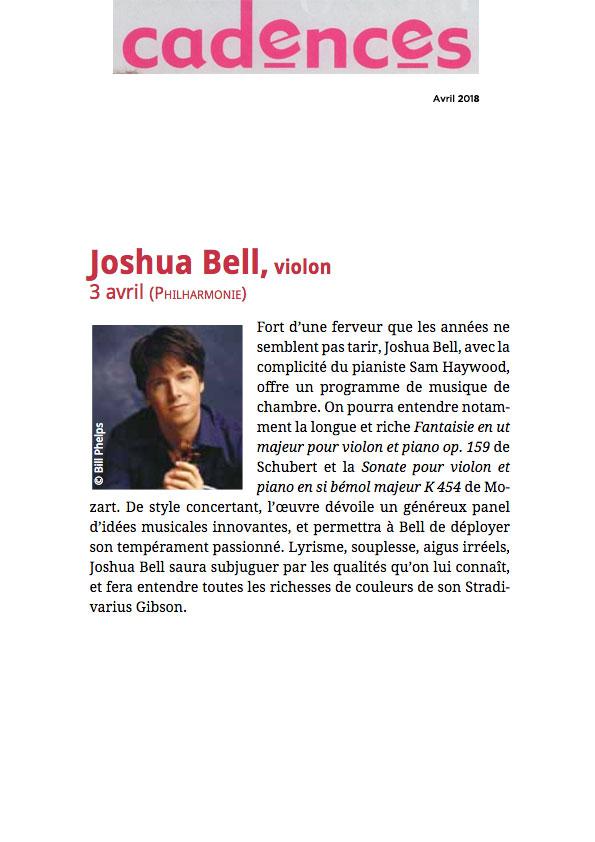 Annonce du récital de Joshua Bell à la Philharmonie de Paris dans le numéro d'avril 2018 de Cadences