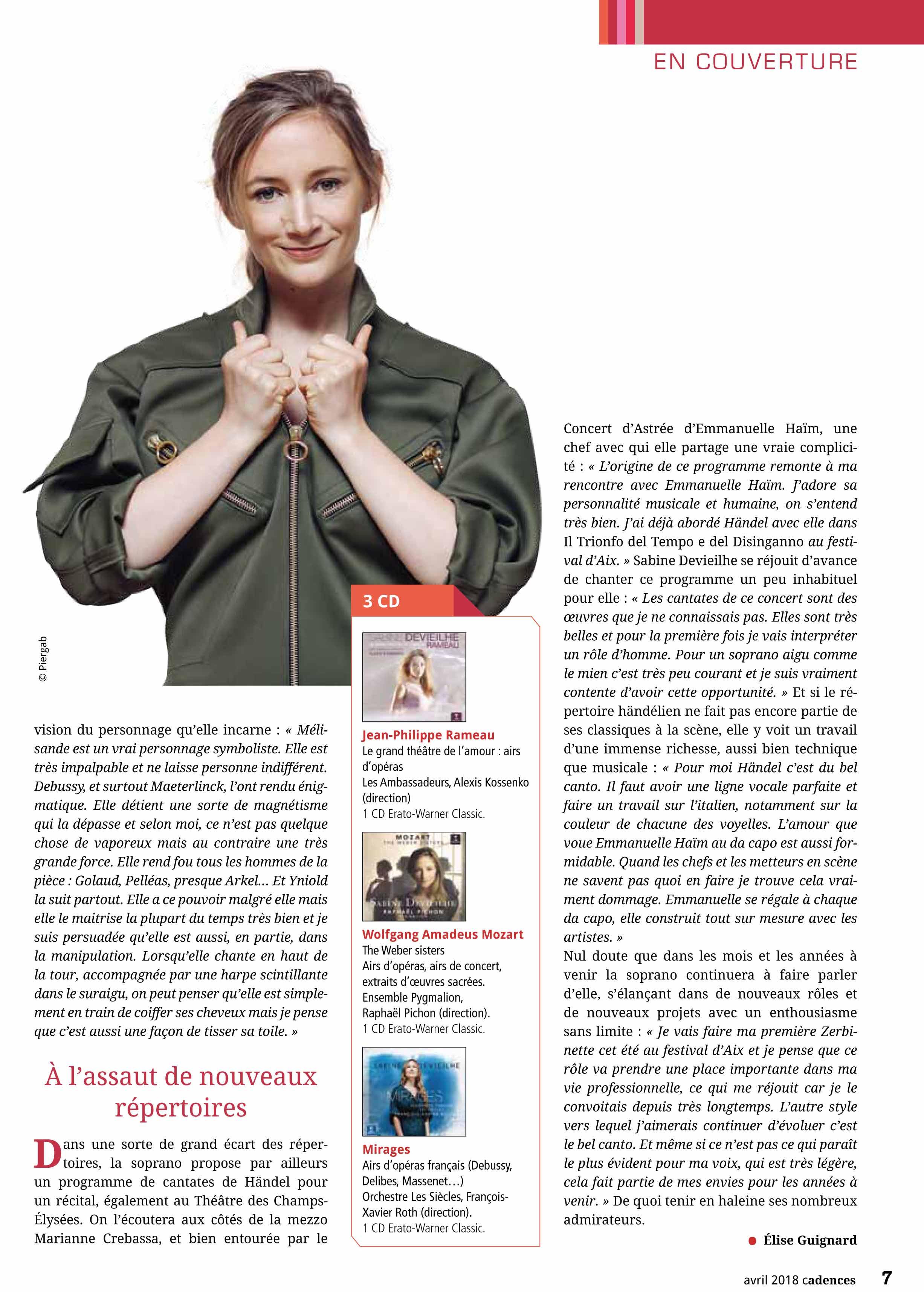 Interview de Sabine Devieilhe dans le numéro de Cadences d'avril 2018