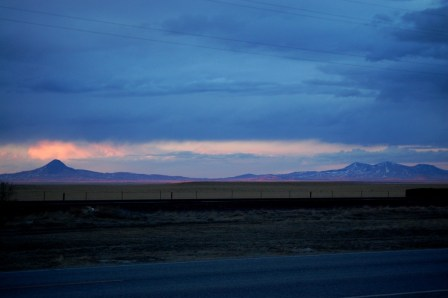 Mountains to the north of Shelby, with an awesome sunset.