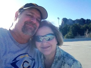 Julianne and David at Mt. Rushmore, April 1, 2013 - no joke!