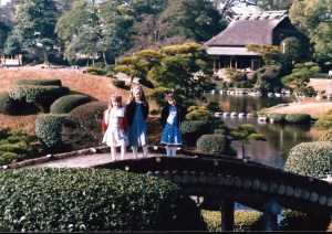 We made many trips around Kyushu, including Fukuoka and Kumamoto.  Here are the girls at Suizanji Park in Kumamoto