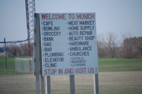 Unique town sign in Munich, ND