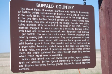 Buffalo Country Historical Marker on US Hwy 2 in Eastern Montana
