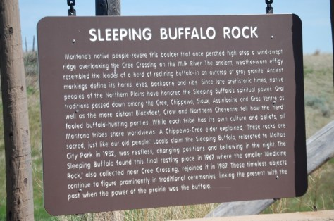 Sleeping Buffalo Rock sign near Saco, Montana