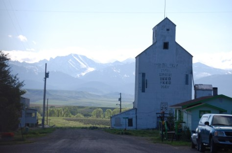 Grain elevator with mountains in the background in Wilsall, MT