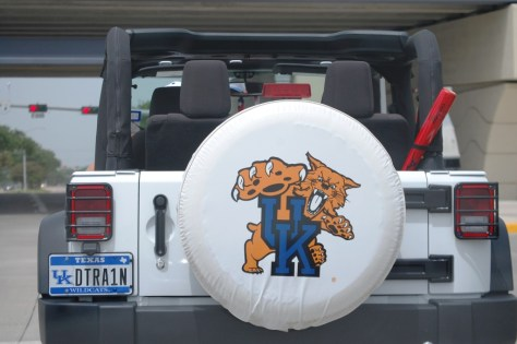 UK Car in Texas.  The driver was all decked out in UK Gear too.