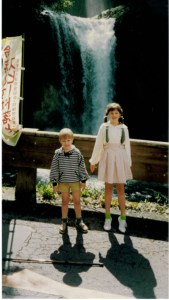 Seth and Chelsea at a waterfall in Japan where they were shooting a TV commercial.