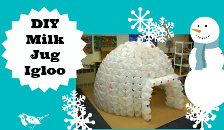 how to build an igloo with milk jugs