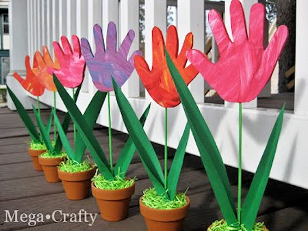 How to Make Tulips from Handprints