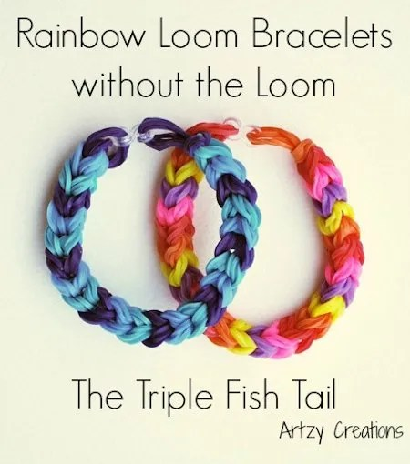 Triple Fish Tail Rainbow Loom Bracelet Without the Loom