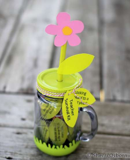 Flower Mason Jar Teacher Gift