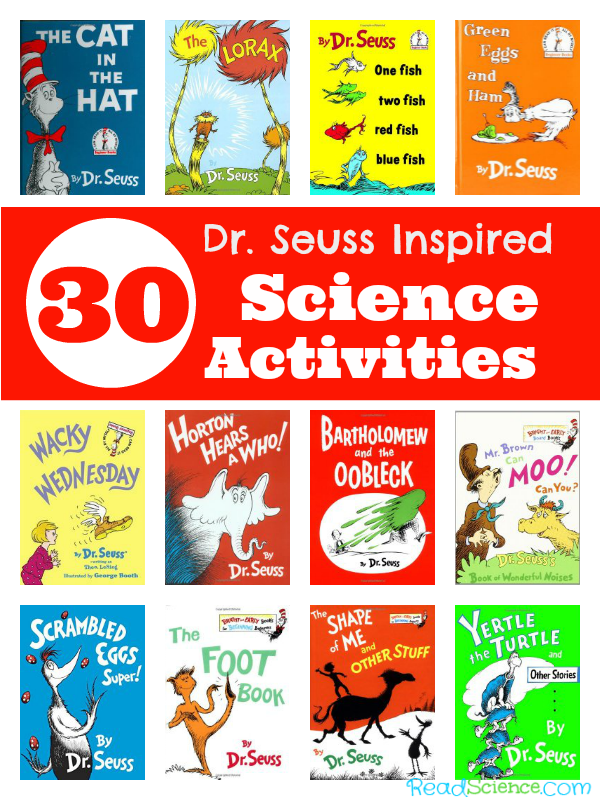 Science activities inspired by Dr. Seuss books.