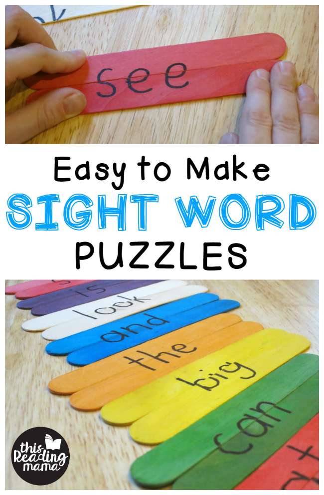 sight word puzzles made with craft sticks