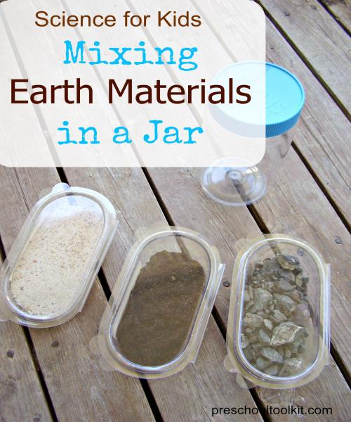 mix earth materials in a jar