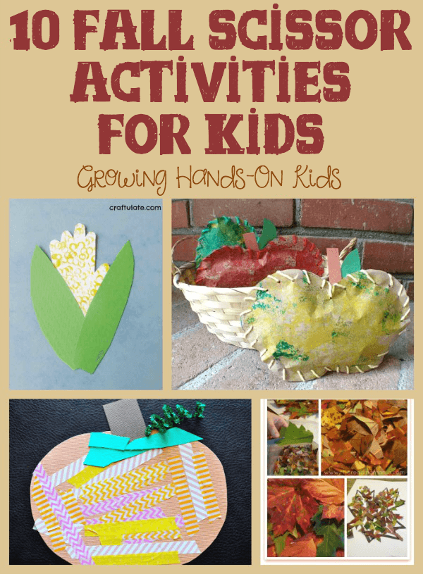 Fall-themed activities for cutting practice.