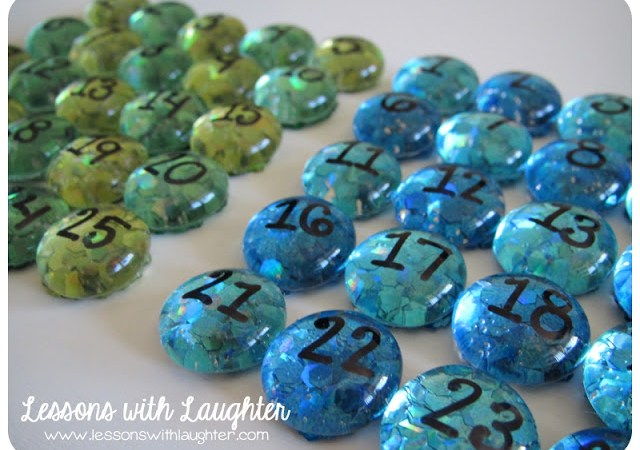 Glittered Number Magnets