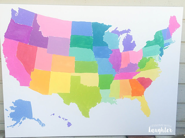 Colorful United States Map Tutorial from Lessons with Laughter