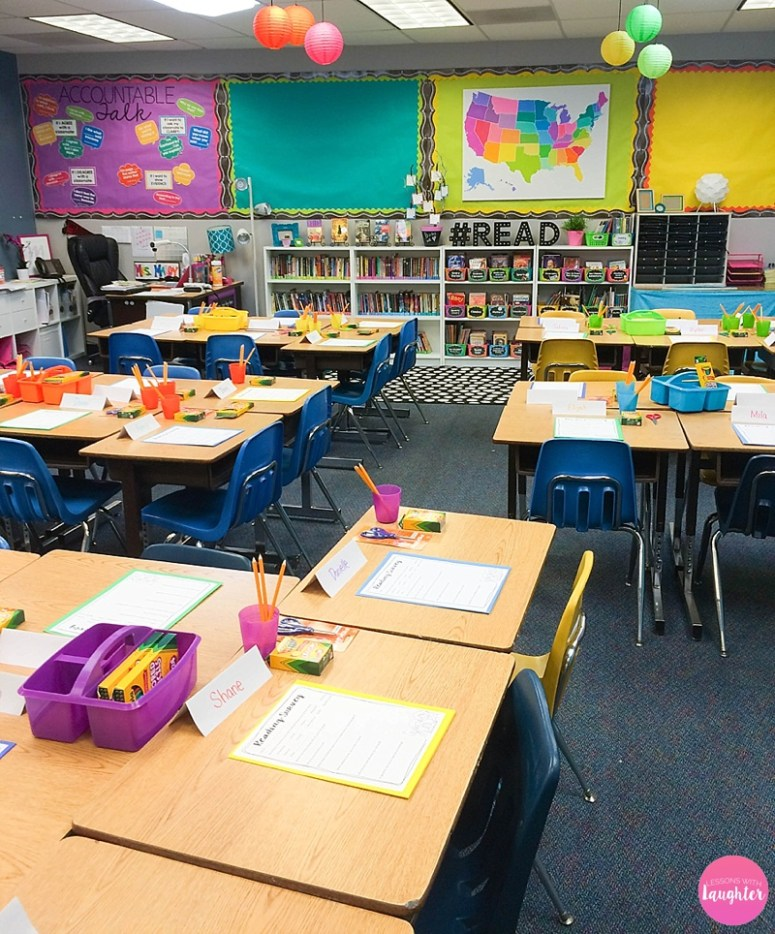 A classroom tour of a colorful, 5th grade classroom