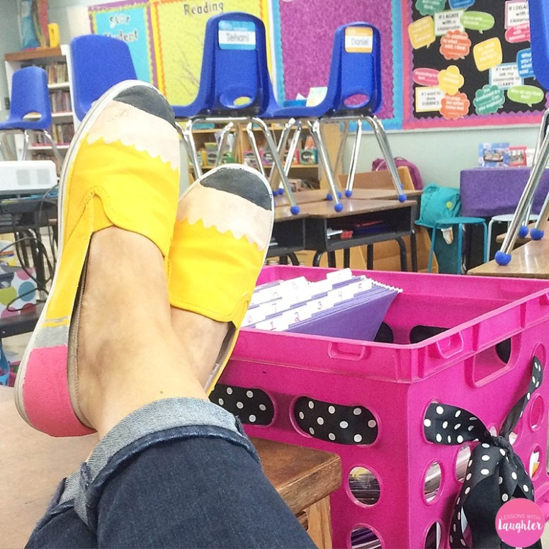 Pencil shoe tutorial for teachers who want to make fun shoes for school!