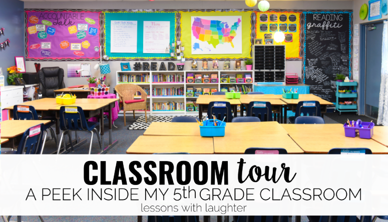 A classroom tour of Lessons with Laughter's colorful, 5th grade classroom