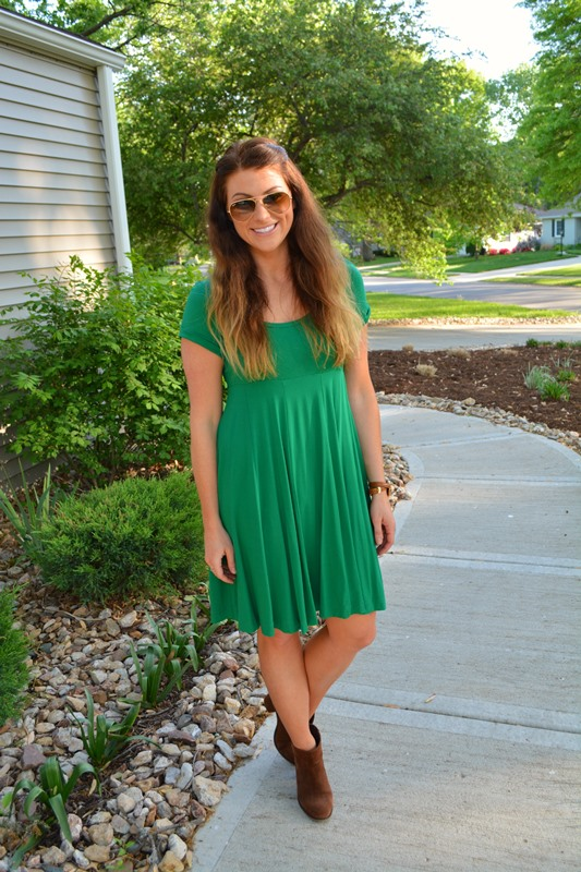 topshop dress, asos audio booties, ray ban aviators