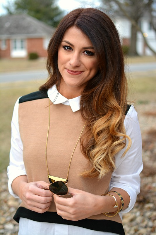 ashley from lsr, endless rose sweater vest blouse, madewell necklace, house of harlow cuff and arrow bangle