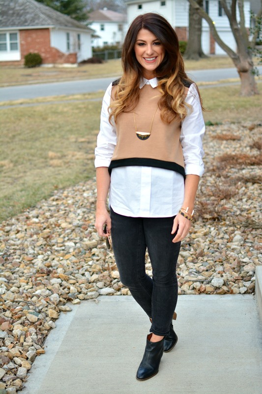 ashley from lsr, endless rose sweater vest blouse, madewell jeans and boots