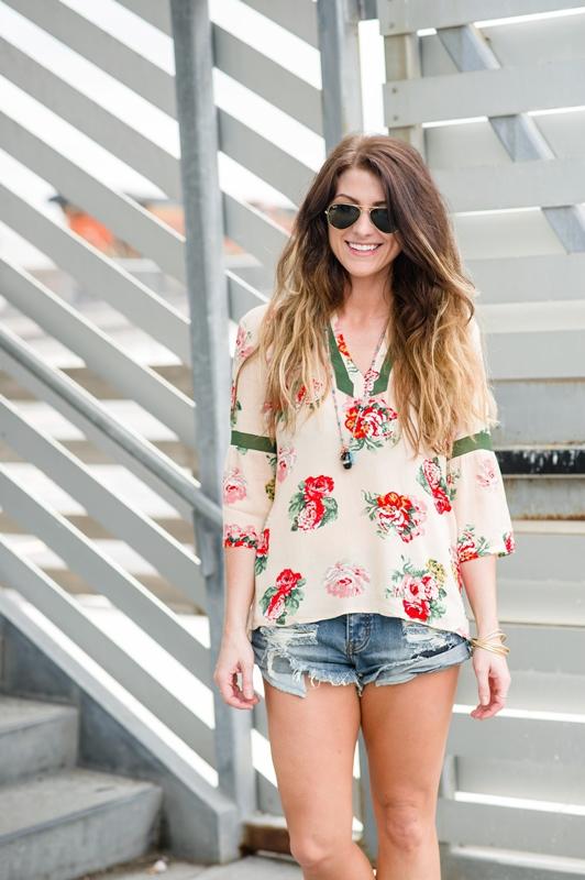 ashley from lsr, medley floral surprise blouse, one teaspoon bandit shorts