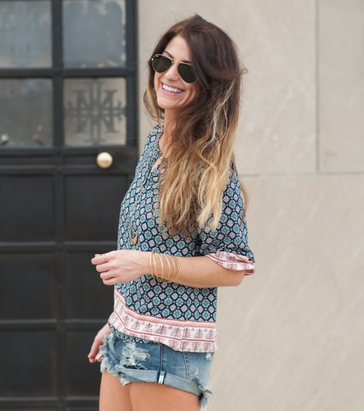 ashley from lsr, medley kaileidoscope top, one teaspoon bandit shorts
