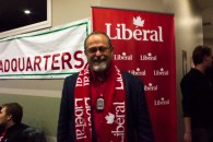 Mike Pyne, the Liberal Lethbridge candidate did not win his riding but there were still smiles all around.
