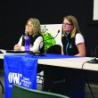Anna Garleff and Shannon Frank of the Oldman Watershed Council doing a public Q&A at the Lethbridge Public Library on Nov. 23.