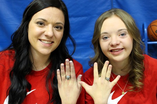 Sisiter Shantaya (left) and Hanna (right) Strebel show off their new rings.